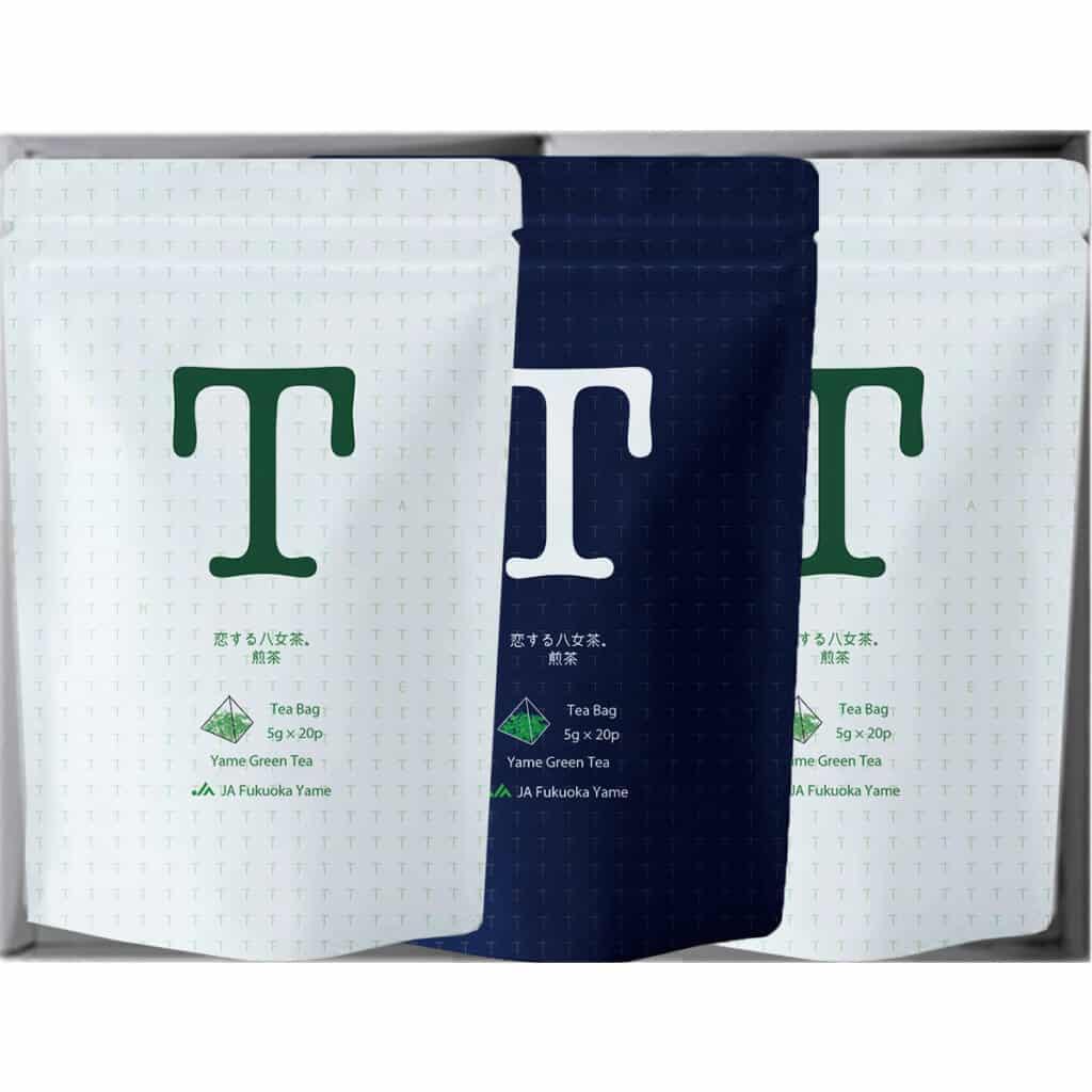恋する八女茶 ギフト セット 紺 白 ティーバッグ お茶 煎茶 緑茶 JA 福岡八女